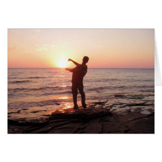 Skipping Rocks Into the Sunset Card