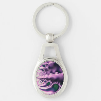 Skipping Stones Violet Silver-Colored Oval Key Ring