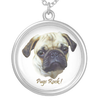 Skippy's Pugs Rock Silver Plated Necklace