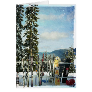 Skis and Snowboards on Mountain Top Card