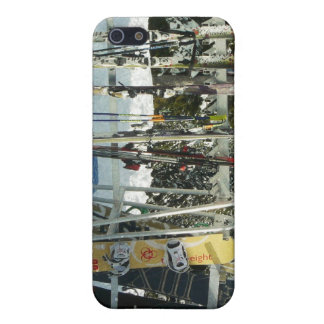 Skis and Snowboards on Mountain Top iPhone 5 Case