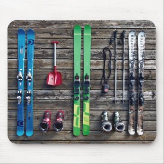 Skis, Ski Poles, Ski Equipment Hung on Wall Mouse Pad