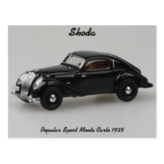 Skoda Popular Sport Monte Carlo 1935 Postcard