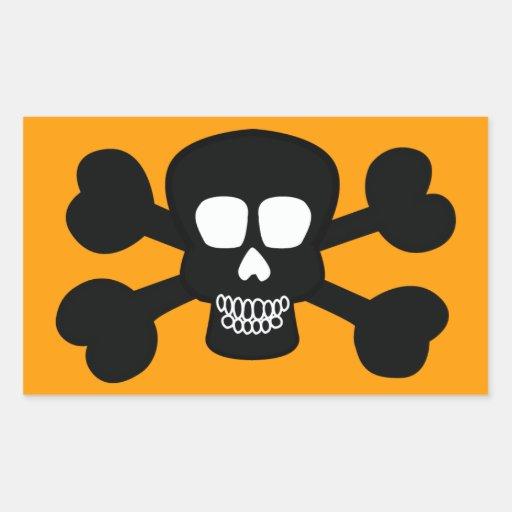 skull004 BLACK SKULL JOLLY ROGERS PIRATE BONES GAN Rectangular Stickers
