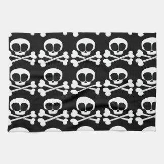 skull005_92007 SKULL CROSSBONES SYMBOL GANGSTER EM Tea Towel