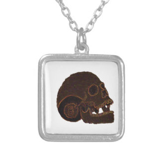 skull2 silver plated necklace
