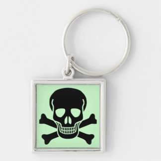 skull 01 Silver-Colored square key ring