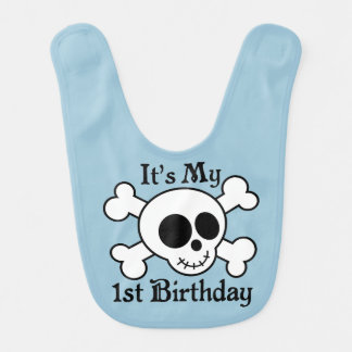 Skull 1st Birthday Baby Boy Bib