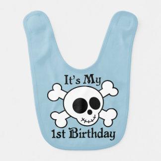 Skull 1st Birthday Baby Boy Bib
