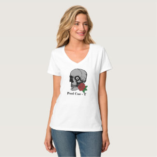Skull 8 Ball Rose Pool Cue-T T-Shirt