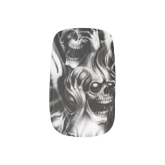 Skull Airbrushed Nails Minx Nail Art