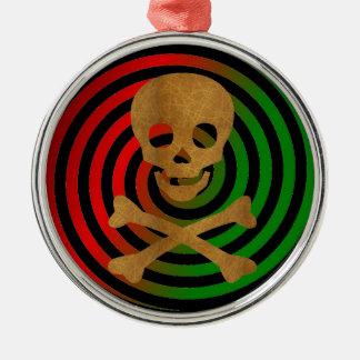 Skull and Bones Metal Ornament