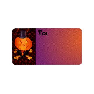 Skull and Bones Pumpkin Address Label