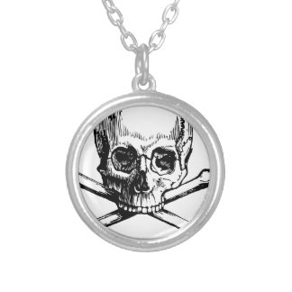 Skull and Bones Silver Plated Necklace