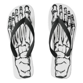 Skull and Bones Skeleton Foot Flip Flops
