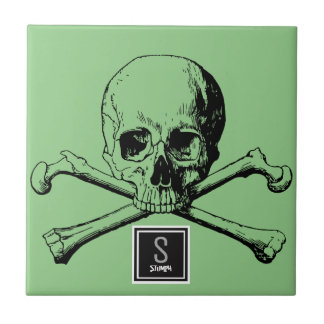 skull and boneS Small Square Tile
