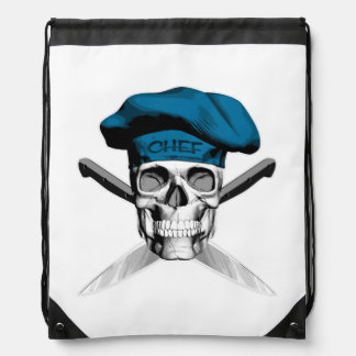 Skull and Chef Knives: Blue Hat Cinch Bag