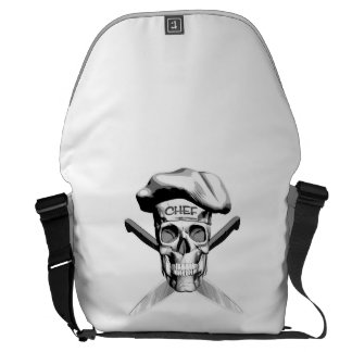 Skull and Chef Knives: White Hat Courier Bag