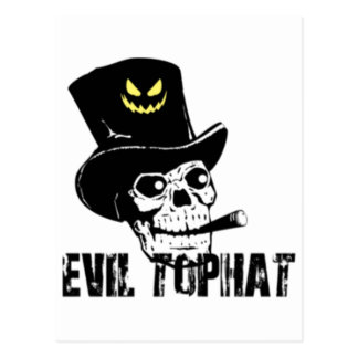 Skull And Cigar Evil Top Hat Postcard