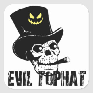 Skull And Cigar Evil Top Hat Square Sticker