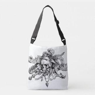 Skull and Cross Bones Fancy Pirate Black & White Crossbody Bag
