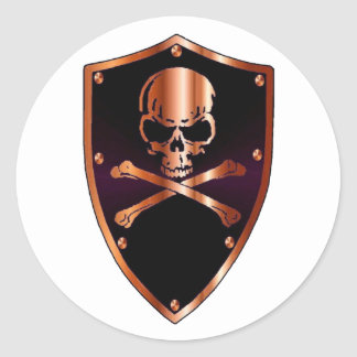 Skull and cross bones shield classic round sticker
