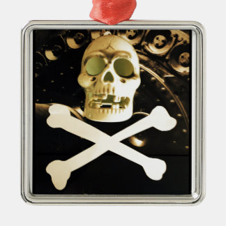 Skull and Cross Bones Silver-Colored Square Decoration