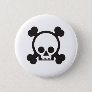 skull and crossbones 2 6 cm round badge
