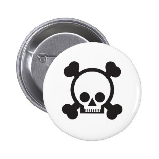 skull and crossbones 2 6 cm round badge