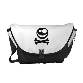 Skull and Crossbones. Black and White. Courier Bag