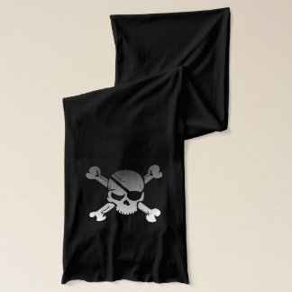 Skull and crossbones black jersey scarf