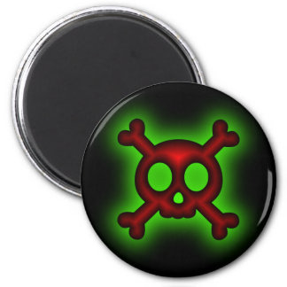 Skull and Crossbones black on black Magnet