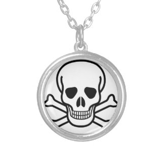 Skull and Crossbones death symbol Silver Plated Necklace