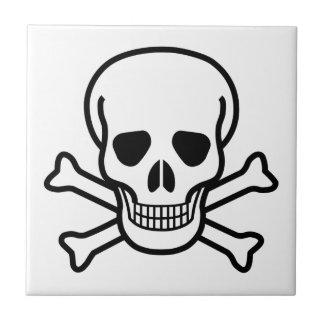 Skull and Crossbones death symbol Small Square Tile