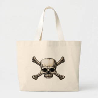 Skull and crossbones drawing tote bags