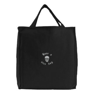 Skull and Crossbones Embroidered Tote Bag