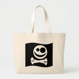 Skull and Crossbones Flag Black and White Bags