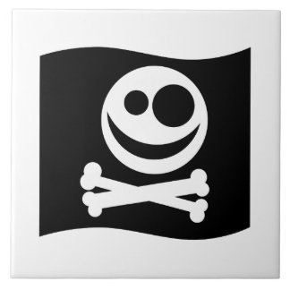 Skull and Crossbones Flag. Black and White. Large Square Tile