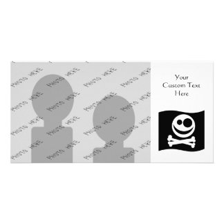 Skull and Crossbones Flag. Black and White. Customized Photo Card