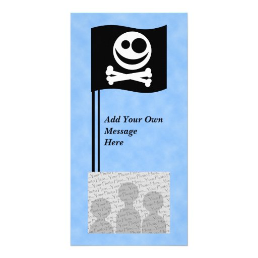 Skull and Crossbones Flag. Black and White. Personalized Photo Card