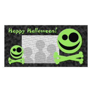 Skull and Crossbones Green and Black Photo Cards