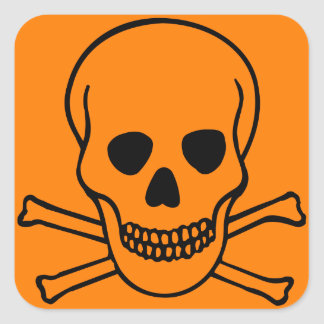 Skull and Crossbones Hazard Square Sticker