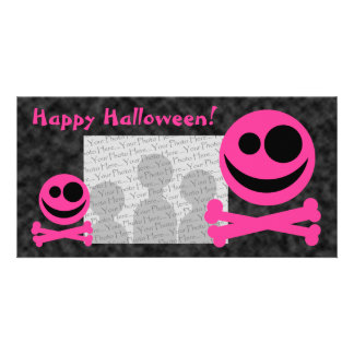 Skull and Crossbones. Hot Pink and Black. Photo Greeting Card