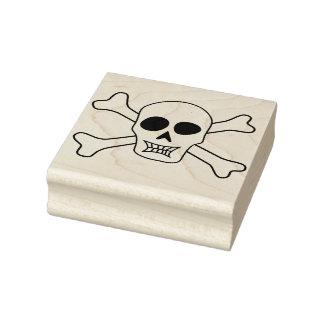 Skull and crossbones illustration art stamp