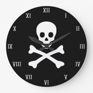 Skull and Crossbones Large Clock