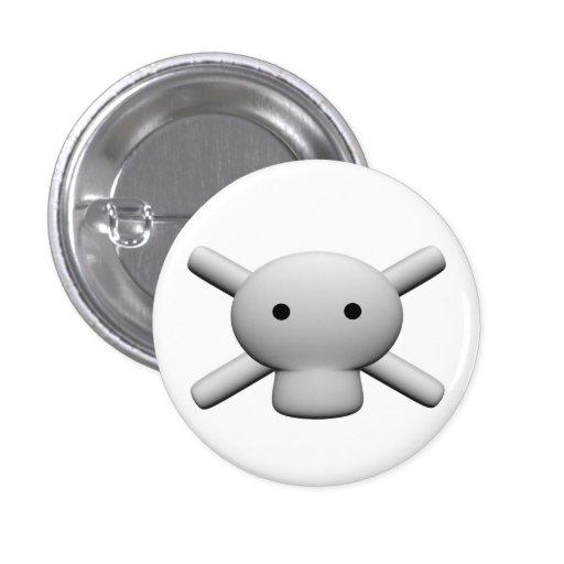 Skull and crossbones logo button