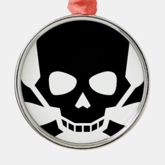 Skull and Crossbones Metal Ornament