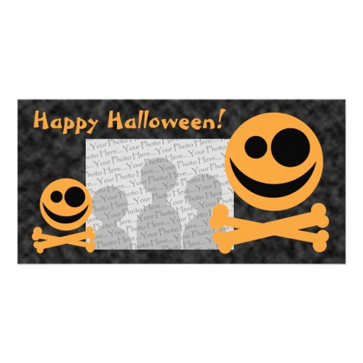 Skull and Crossbones. Orange and Black. Picture Card