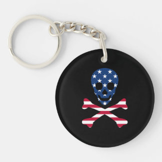 Skull and Crossbones ~ Patriotic Key Ring