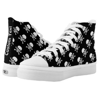 Skull and Crossbones Pattern Shoes w/ Custom Text Printed Shoes